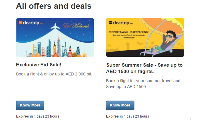 Cleartrip's offers