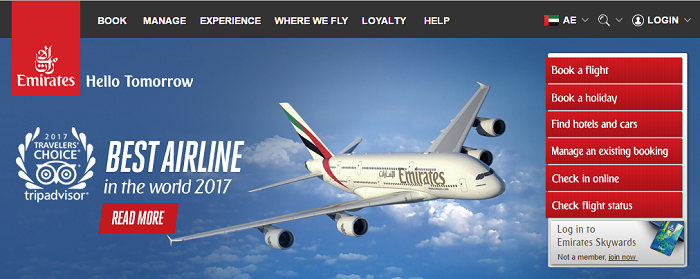 Emirates' main site
