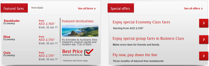 Emirates' offers
