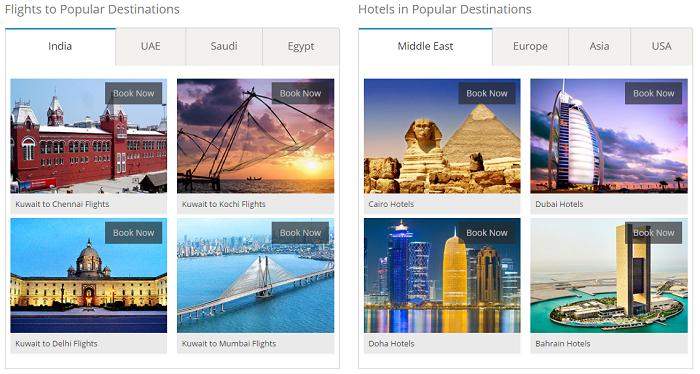 Available destinations