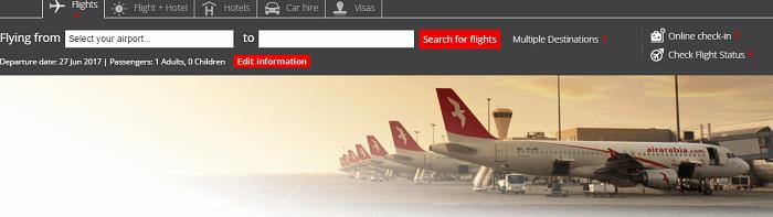 Air Arabia's website