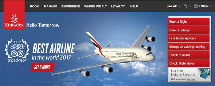 Emirates' main site