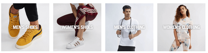 The broad range of sports items