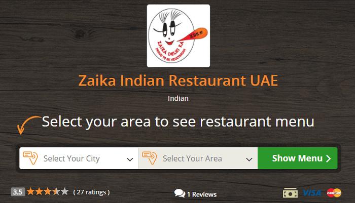 Zaika at Talabat