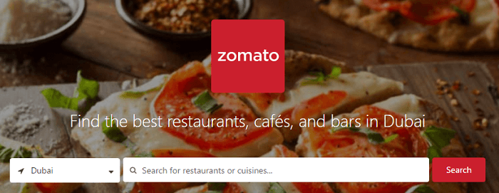 Zomato's front site
