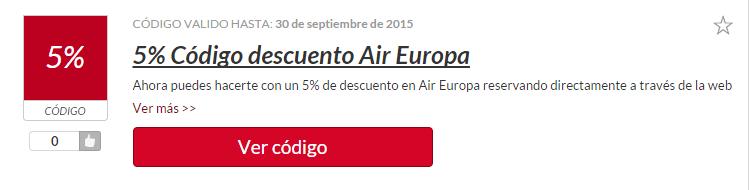 código descuento Air Europa