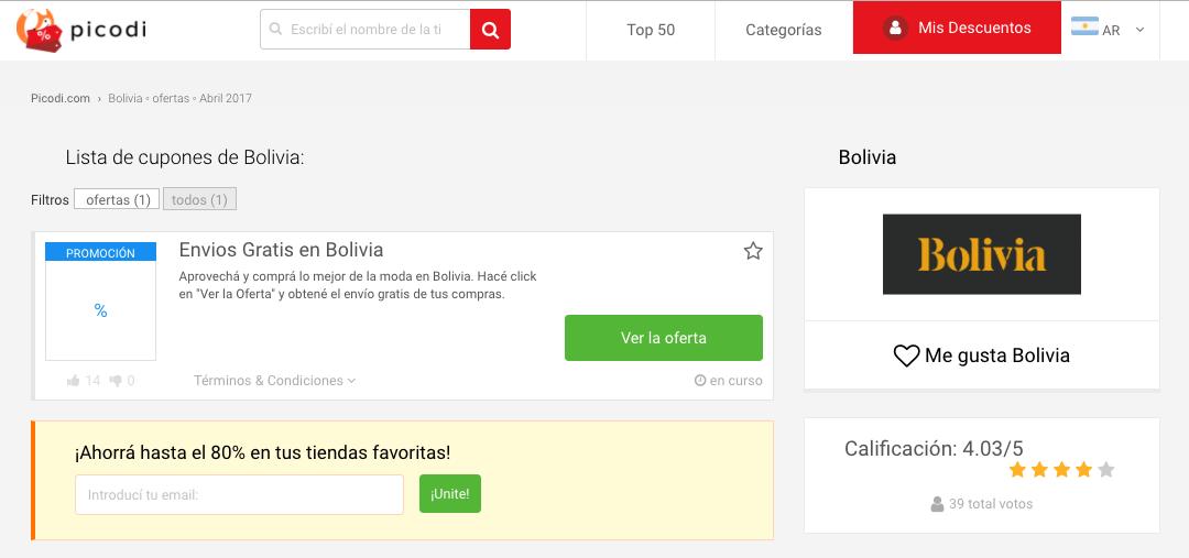 cupones Bolivia