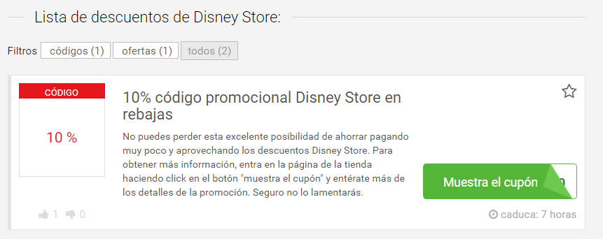 cupones Disney Store