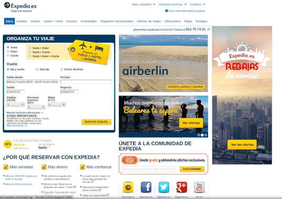 Página principal Expedia - ahorra en tus viajes
