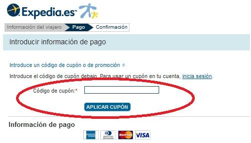 Realización de pago con cupon descuento Expedia