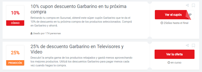 cupones Garbarino