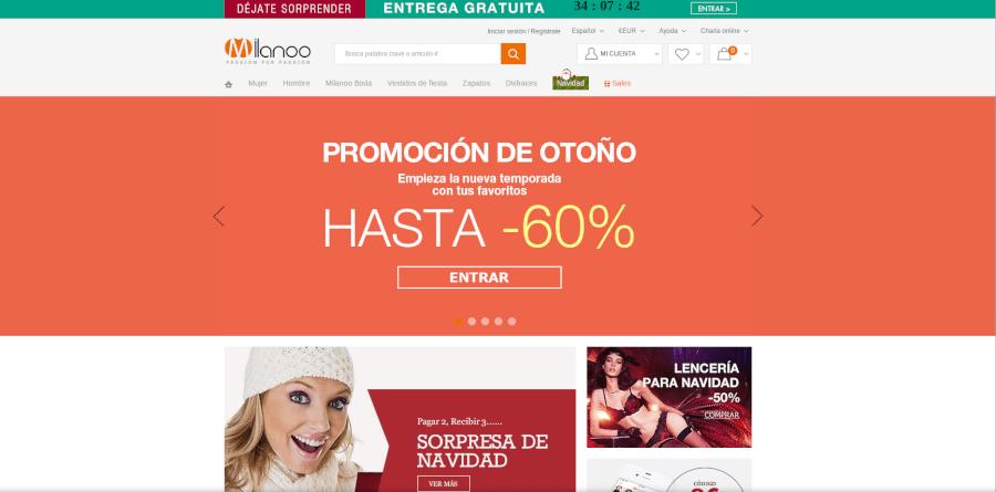 Página principal de Milanoo - una de las mejores tiendas de ropa online
