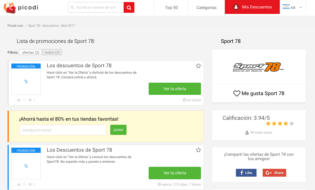 cupones Sport 78