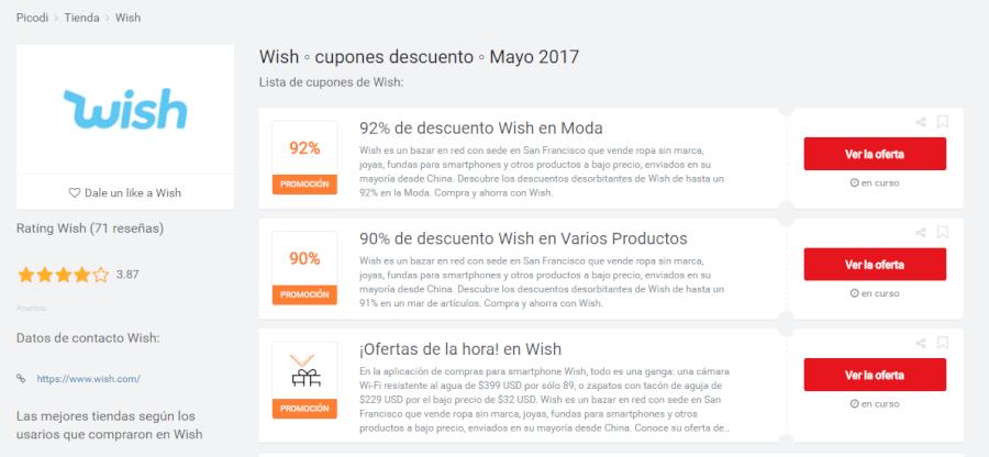 promociones de Wish Picodi