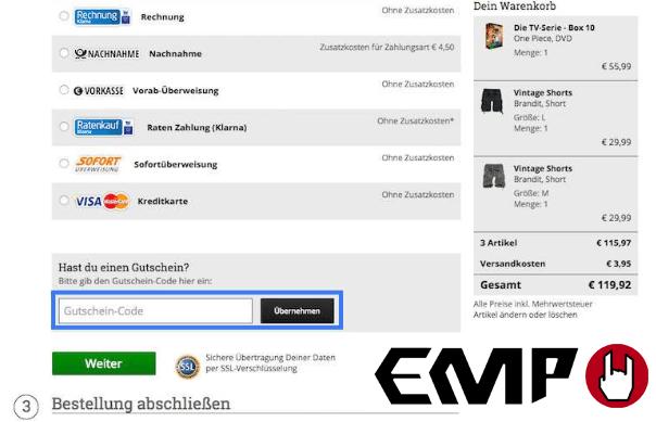 Ein Bild des Feld Gutscheincode, in dem man den EMP Gutschein einlöst