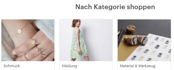 Kategorie Shoppen bei Etsy