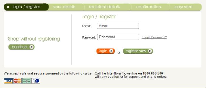 SA Interflora Sign Up