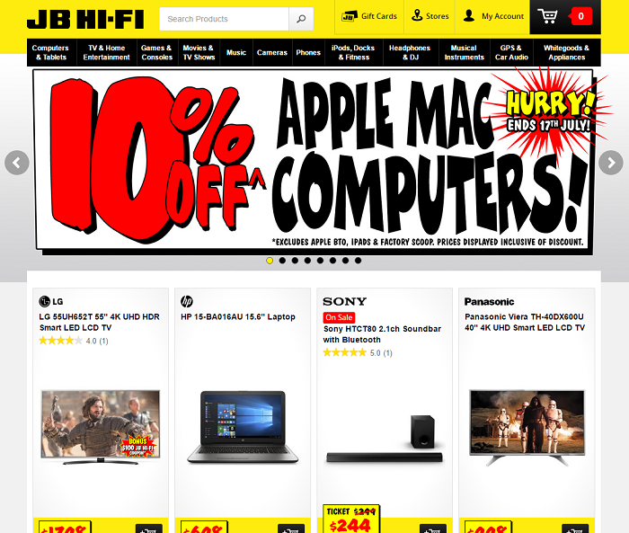 Find you favourite items at JB Hi-Fi