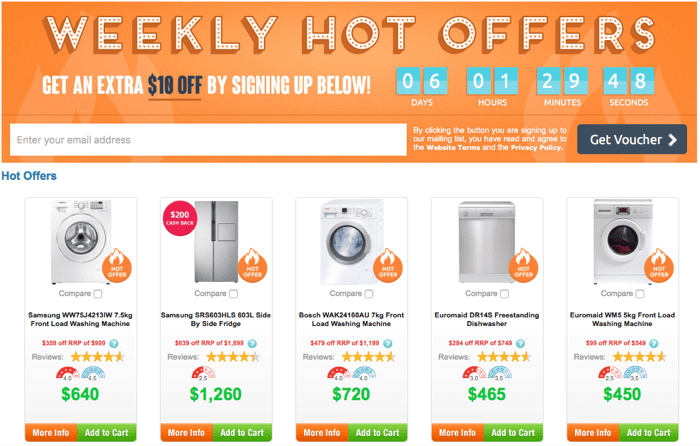 Hot offers and promotions at Appliances Onlnie