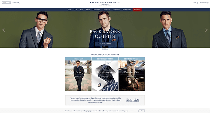 We have 26 Charles Tyrwhitt UK coupons for you to choose from including 1 coupon code, 24 sales, and 1 free shipping coupon. Most popular now: 4 Men's Shirts for £