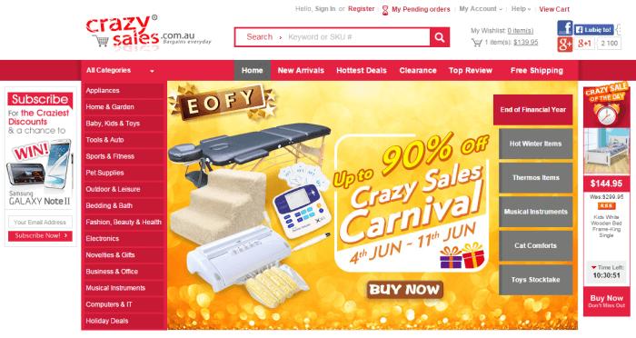 Crazy Sales home page