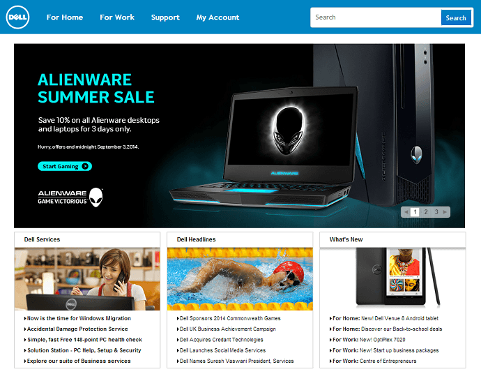 SA Dell website