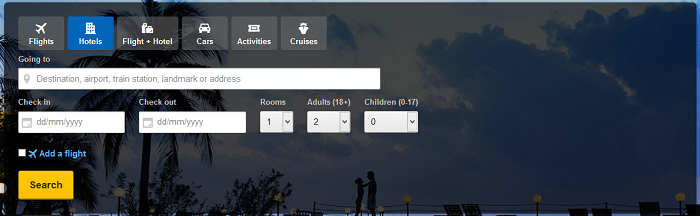 Expedia's front page