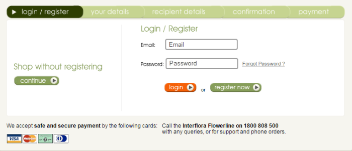go to checkout at Interflora and enter the Interflora code