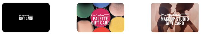 MAC Cosmetics giftcards