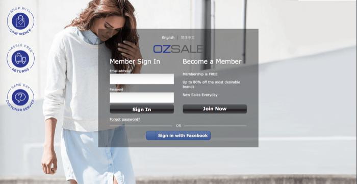 Ozsale login page