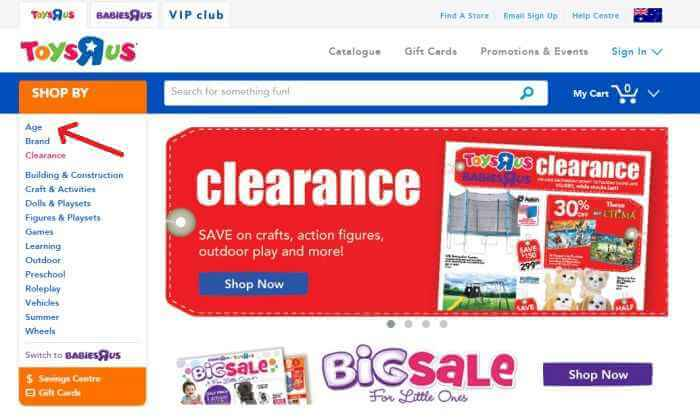 Toys R Us online store - shop by categories