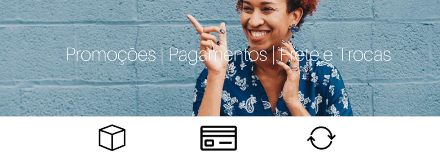 Banner: Promoções, Pagamentos, Frete e trocas