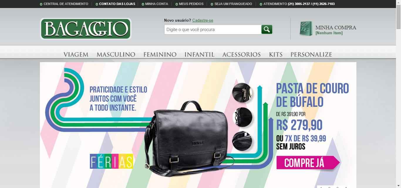 imagem da pagina inicial Bagaggio