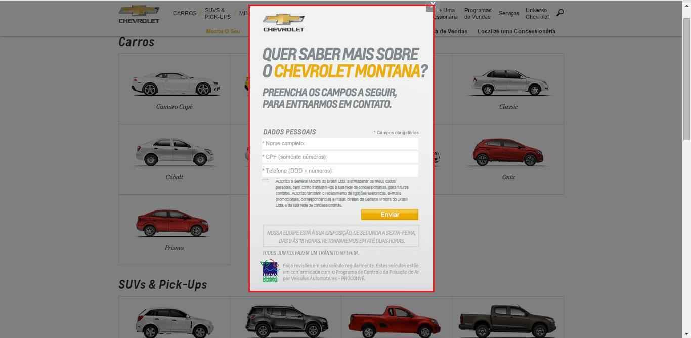 Imagem do site da Chevrolet