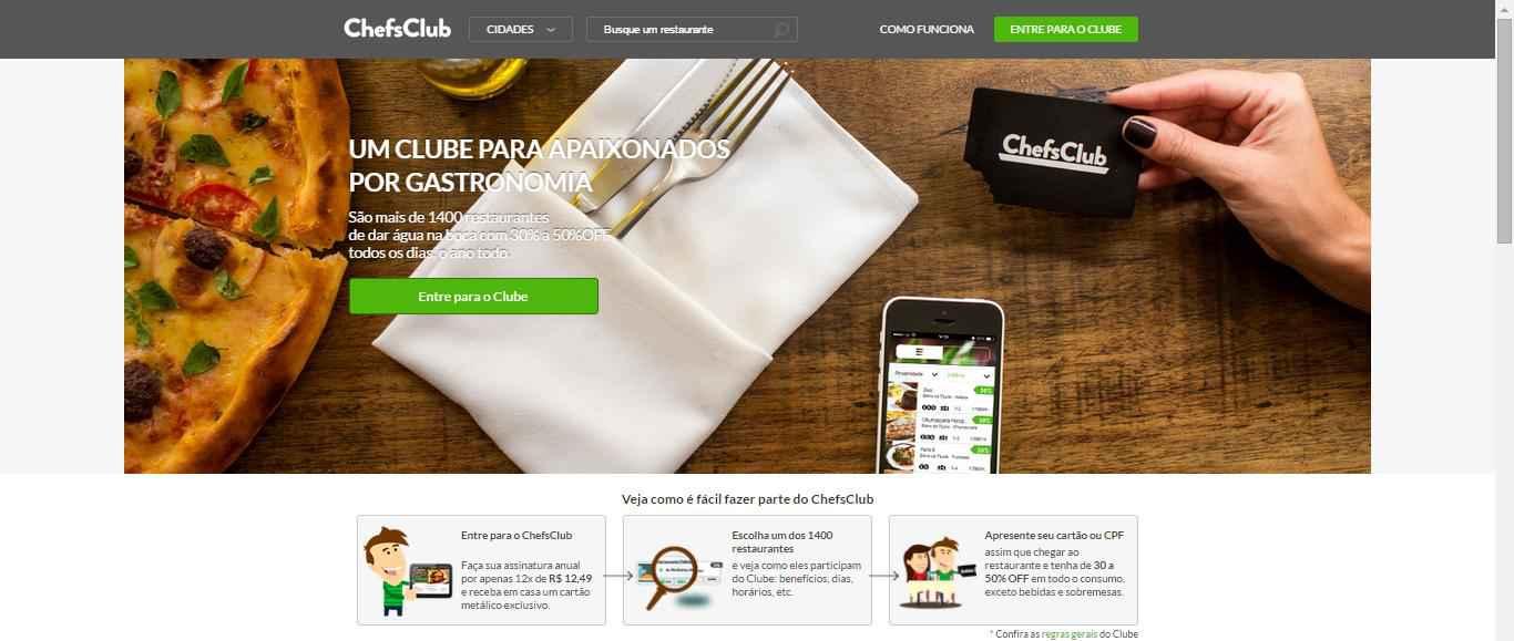 imagem da pagina inicial ChefsClub