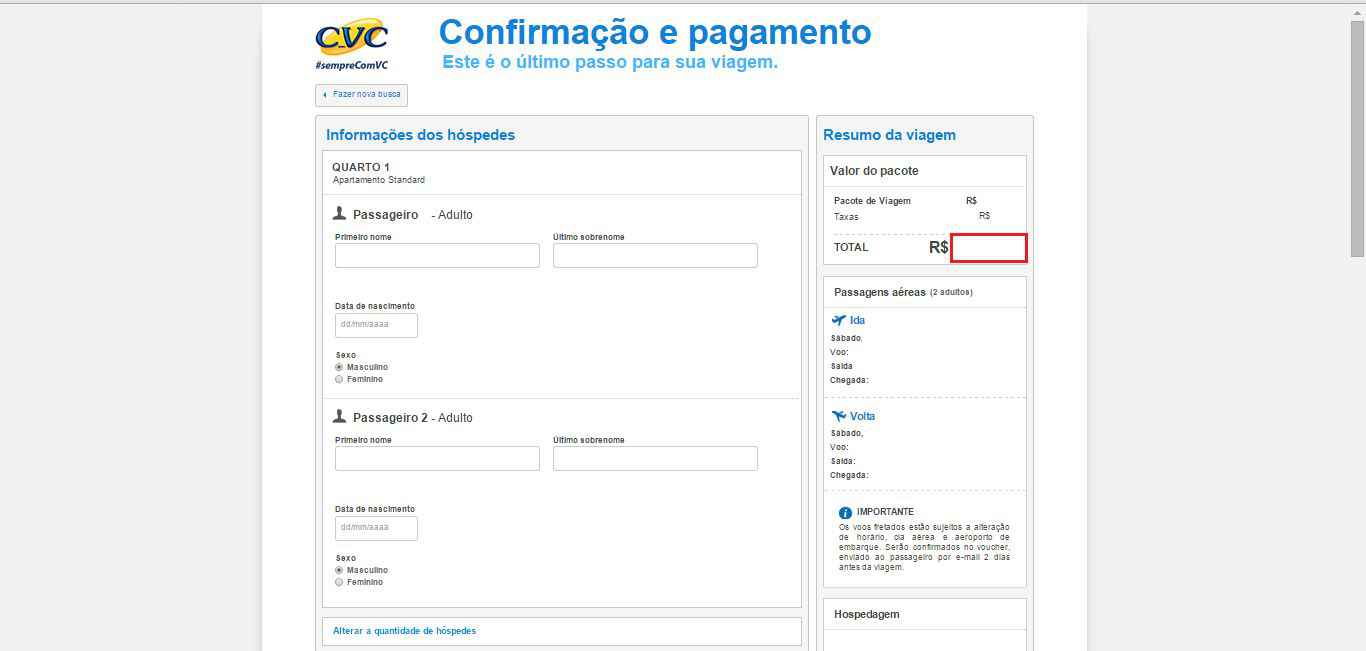 Imagem da conformação de pagamento CVC