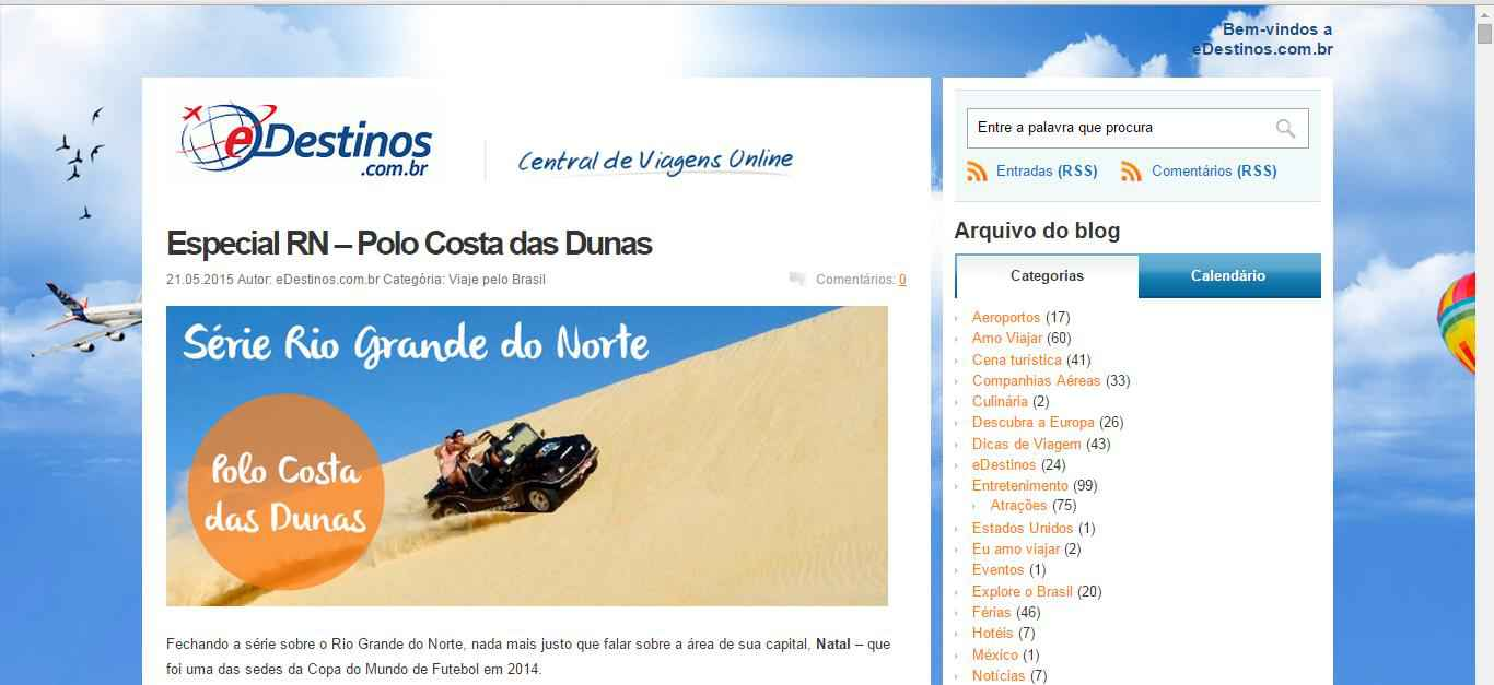 imagem promocional do Blog Edestinos