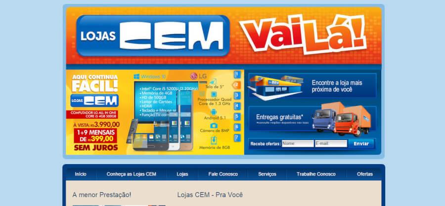 Lojas CEM página Inicial