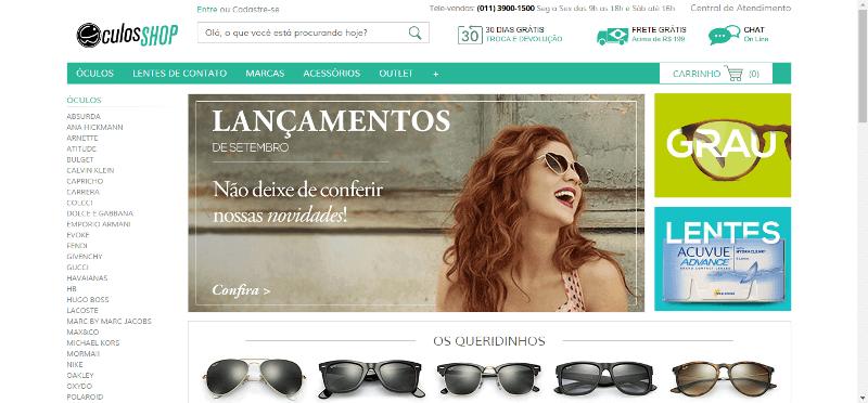 Pagina Inicial Oculos Shop