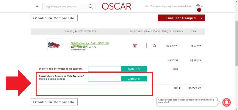 Cupom de desconto Oscar Calçados