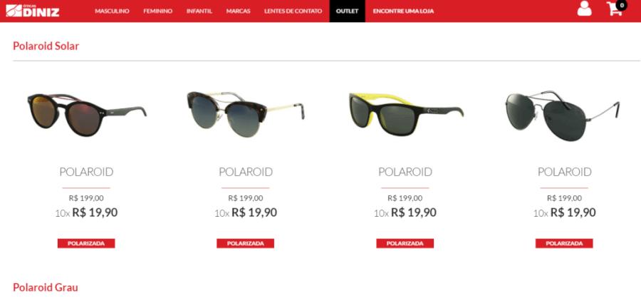 óculos de sol Óticas Diniz