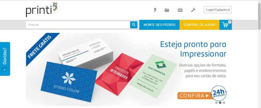 imagem da pagina inicial Printi