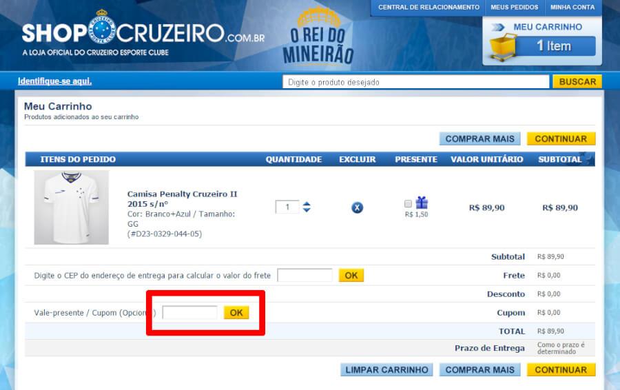 Shop Cruzeiro Cupom
