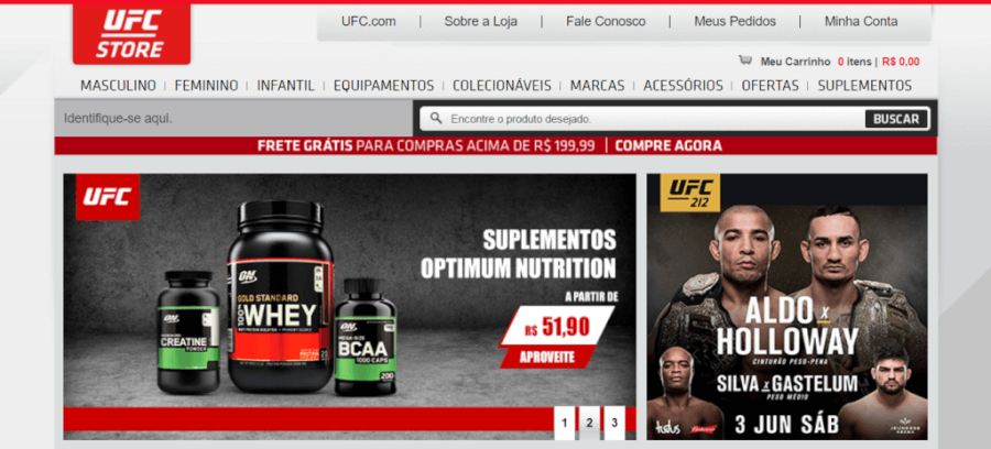 Pagina Inicial UFC Store