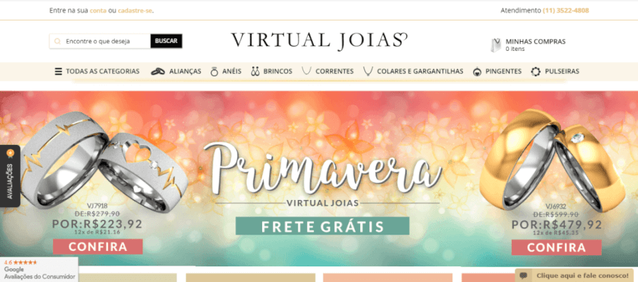 Pagina Inicial Virtual Joias