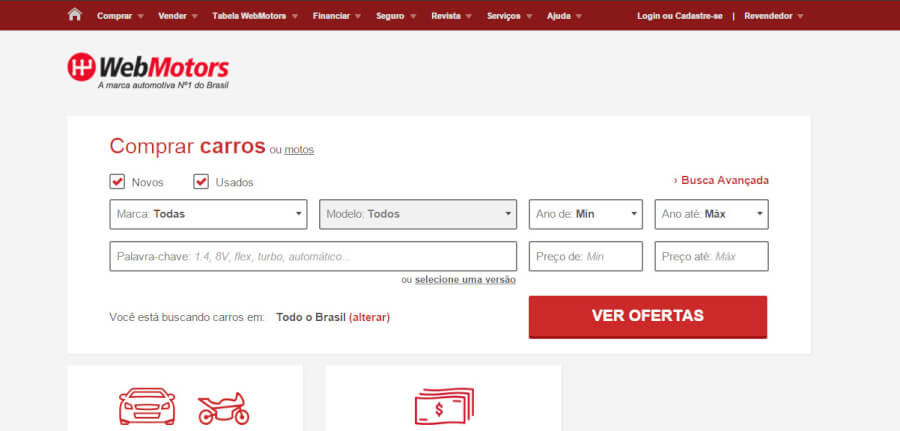 WebMotors Página Inicial