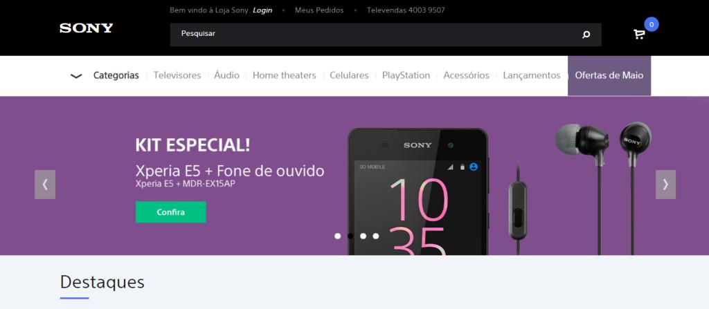 Pagina Inicial Sony