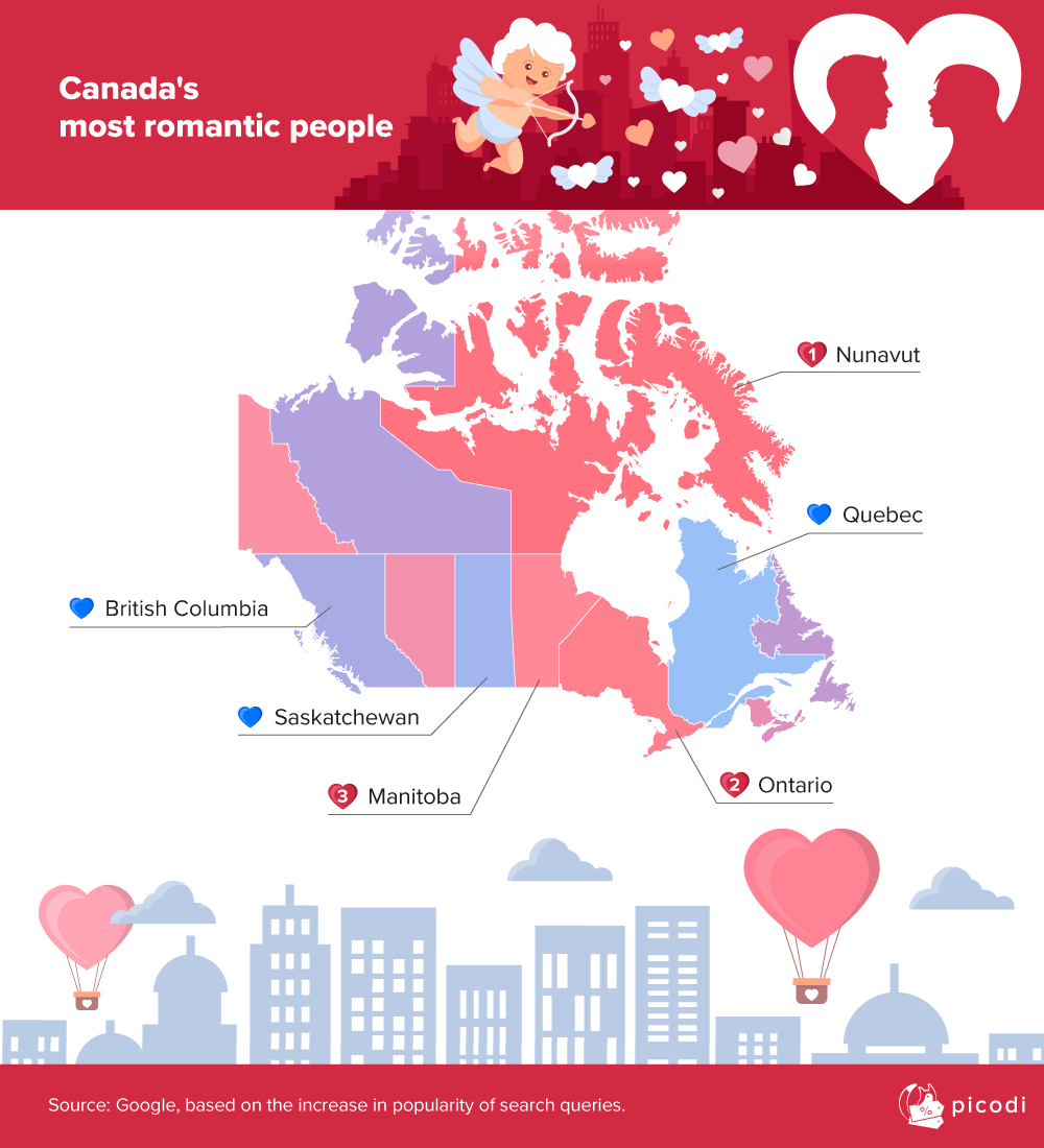 Where do the most romantic people in Canada live?
