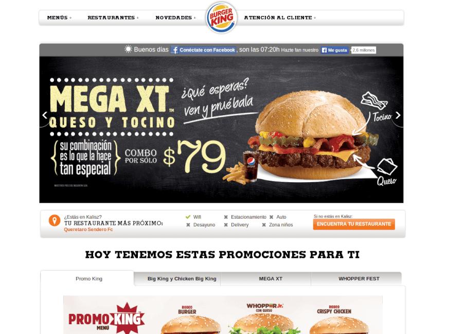 Página Principal Burger King México