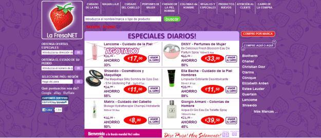 catálogo de productos página home strawberrynet